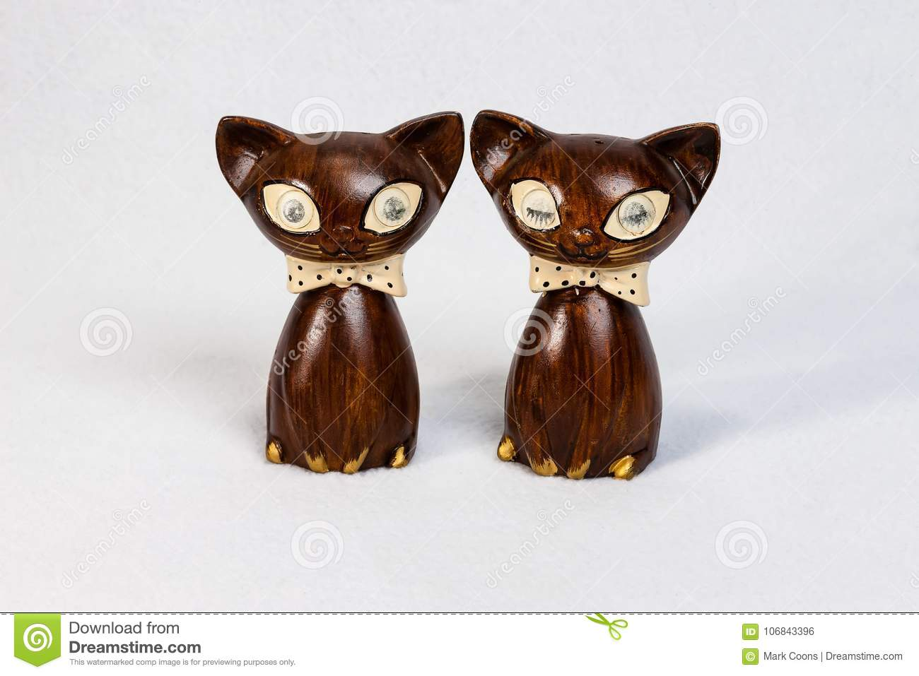 Medium Sized Wooden Cat Salt And Pepper Shakers Stock Photo Image Of Pepper Table 106843396