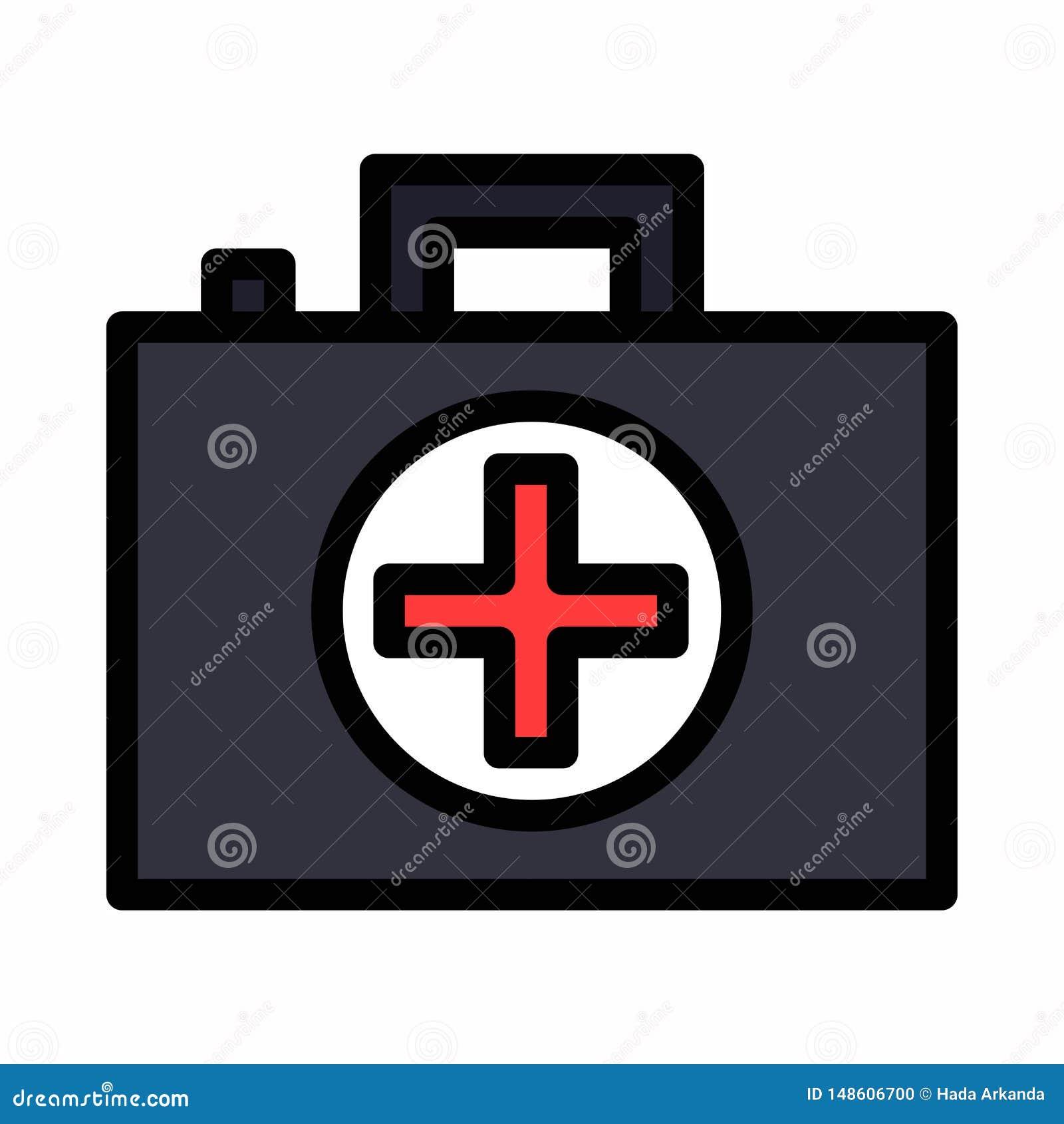 Medizin-Aktenkofferikonenlogosymbol oder -illustration