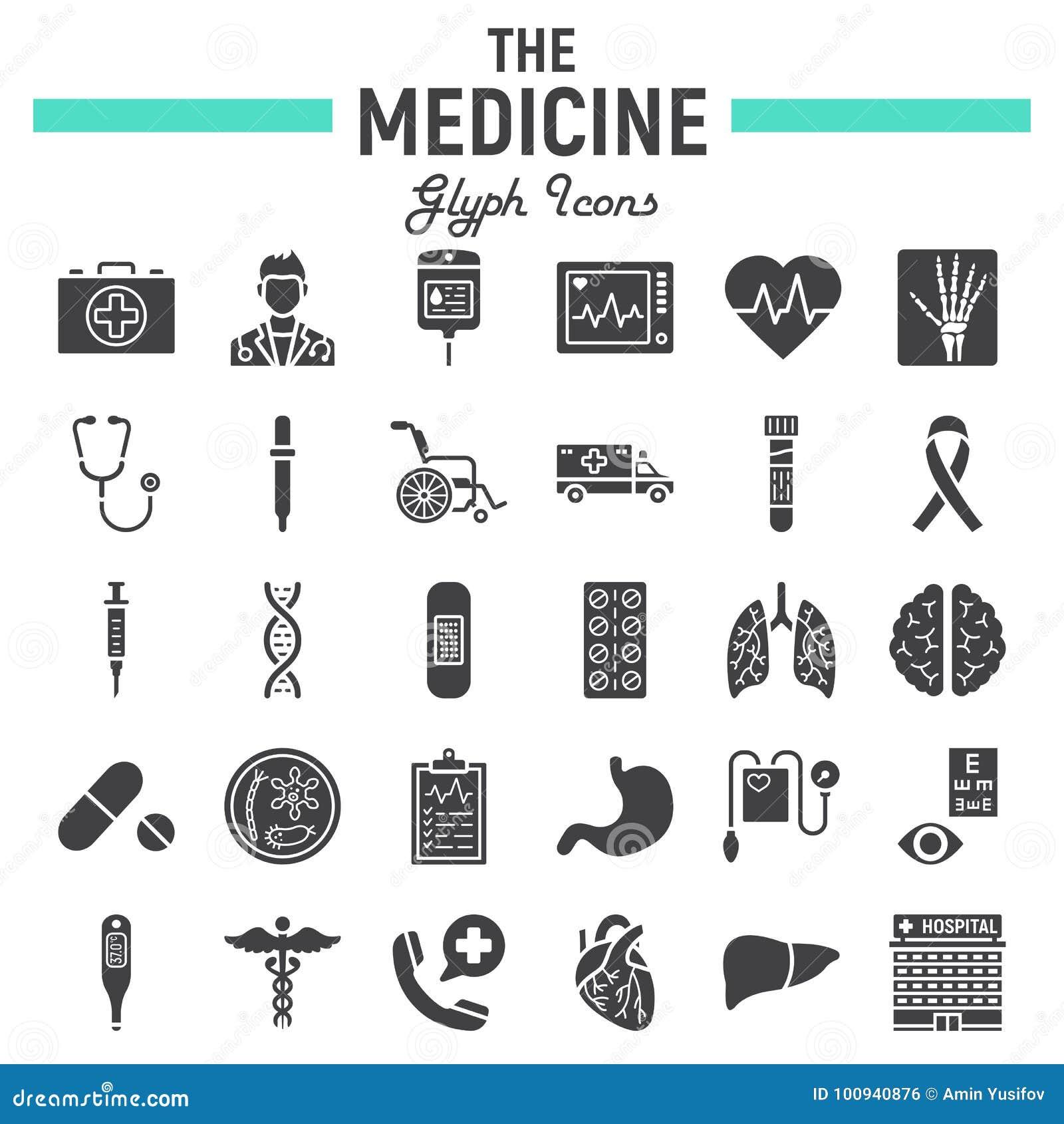Medizin Glyph-Ikonensatz, medizinische Zeichensammlung