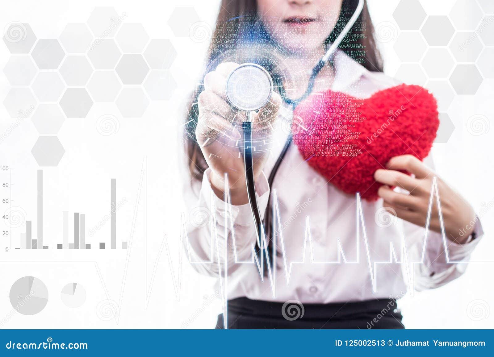 Medizinfrau behandeln Sie das Halten Network Connection der rührenden Ikone des Stethoskops der medizinischen Schnittstelle virtu
