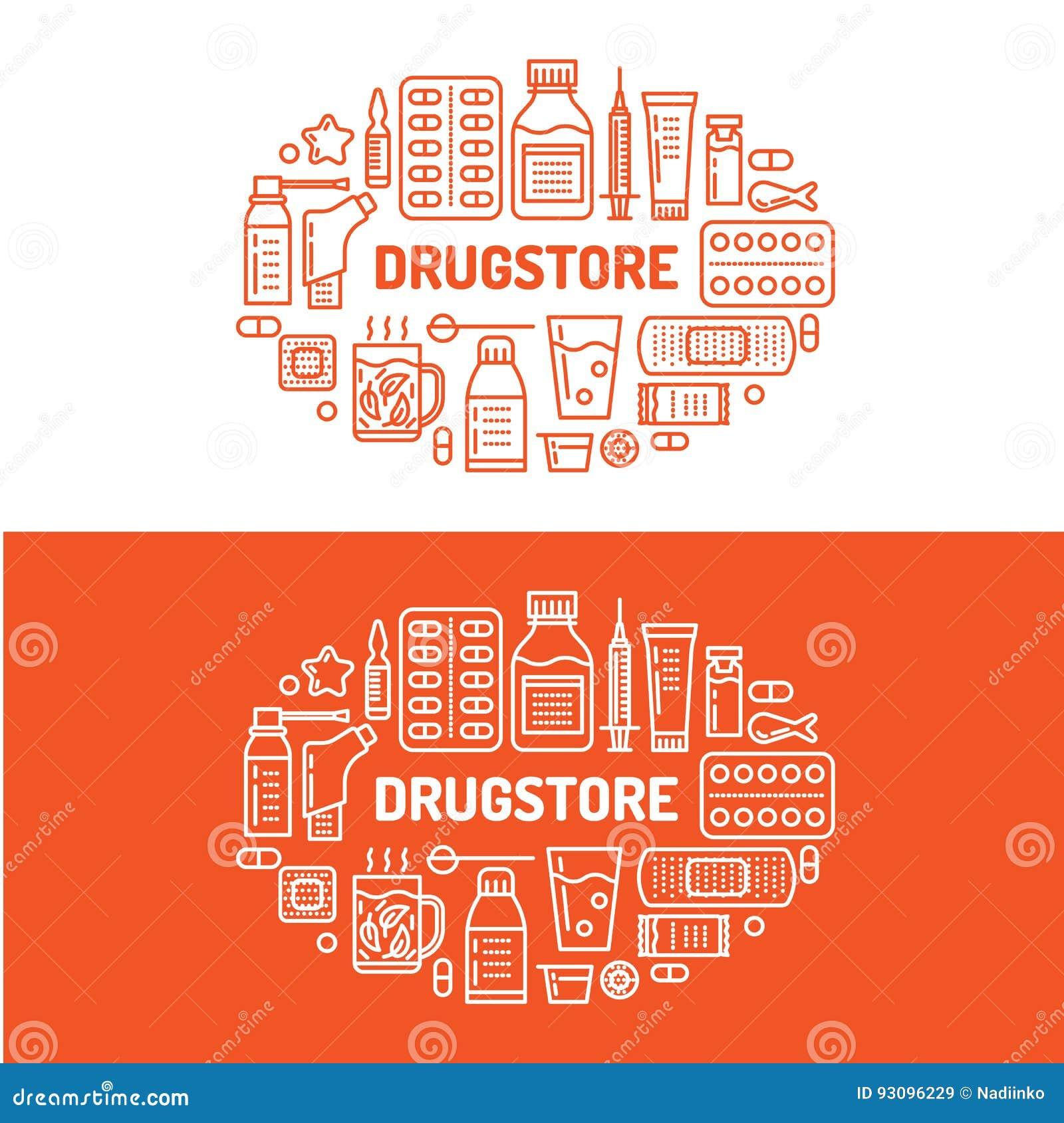 Medizinisch, Drugstorefahnenillustration Apothekenvektorlinie Ikonentablette, Kapseln, Pillen, Antibiotikumvitamine und