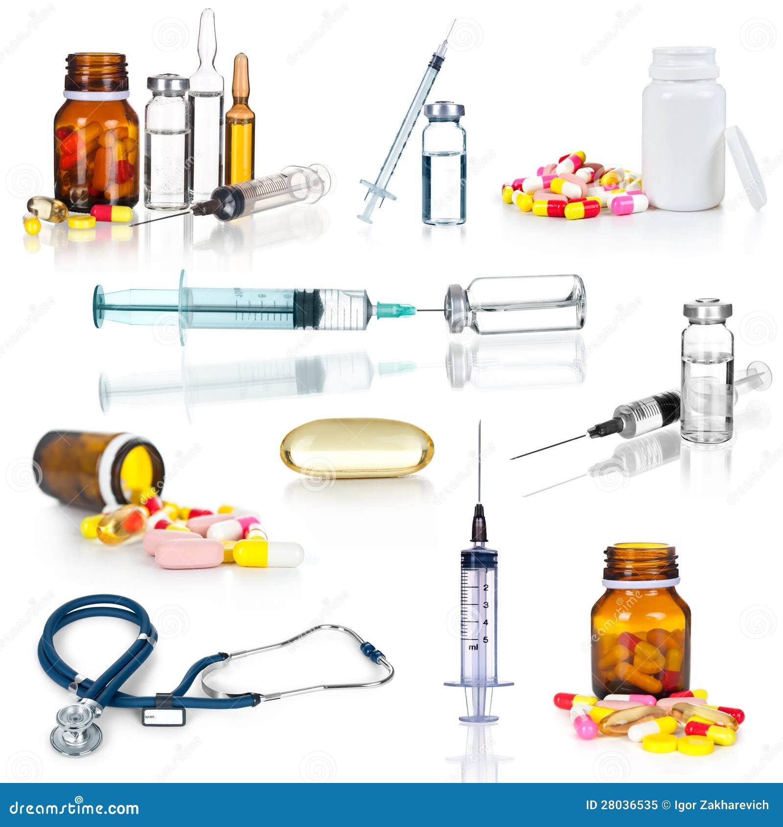 Medizinische Ampules, Flaschen, Pillen und Spritzen