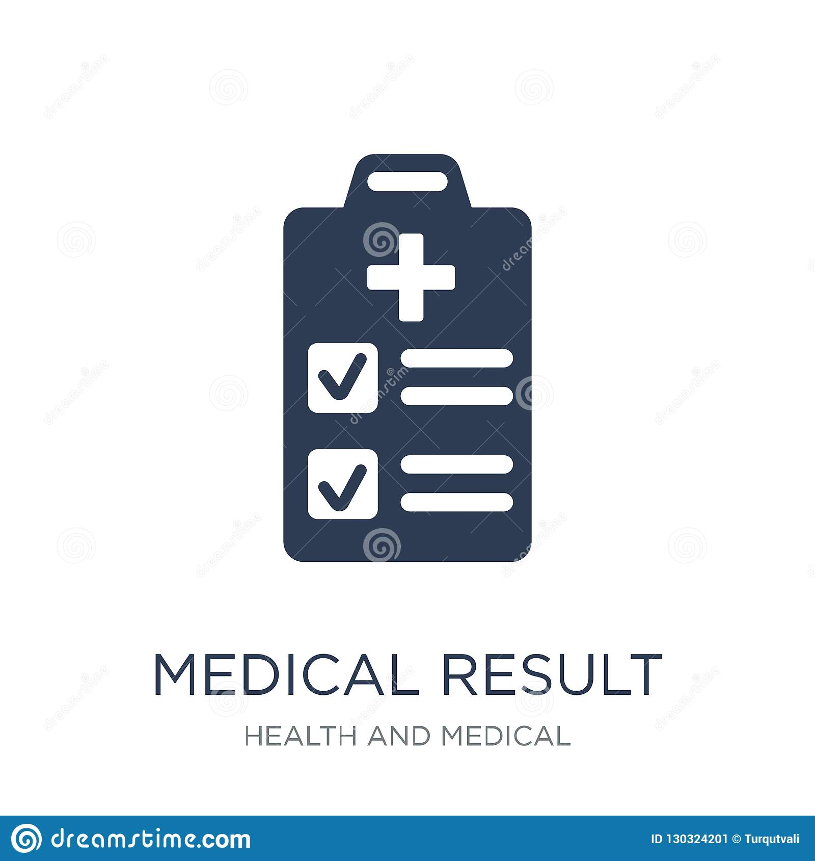 Medizinische Ergebnisikone Medizinische Ergebnisikone des modischen flachen Vektors auf w