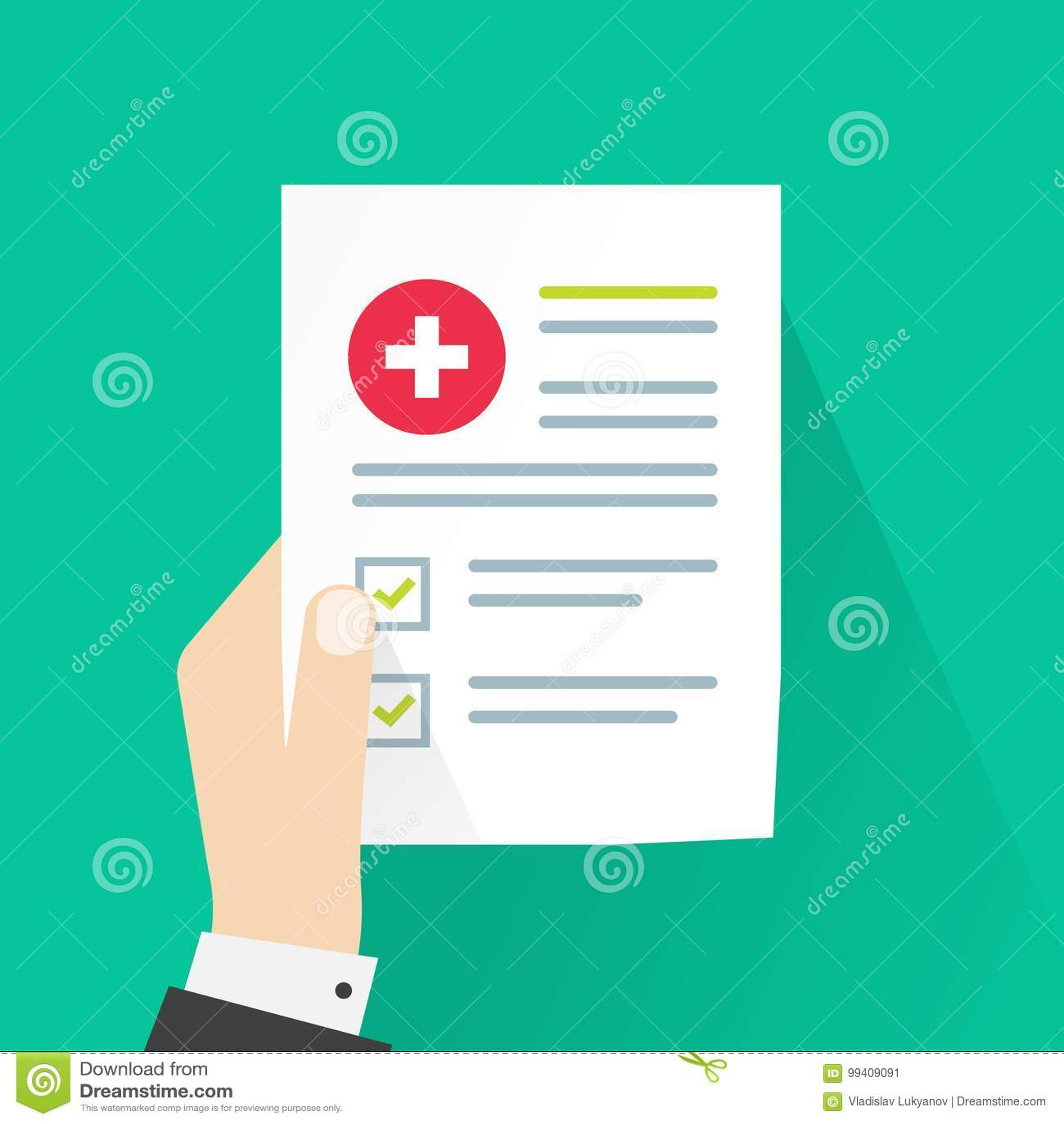 Medizinische Ergebnisse Vector Illustrations Papierdokumenten Und