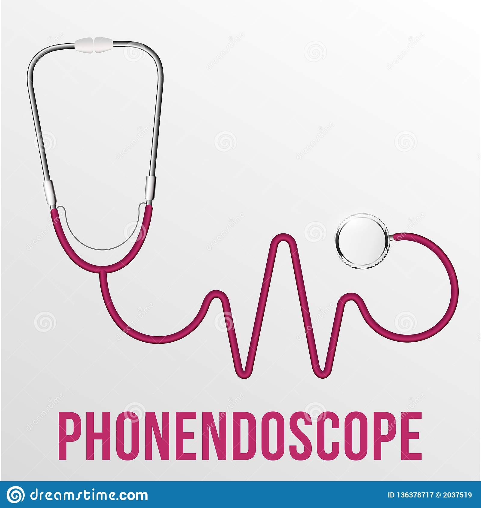 Medizinischer Phonendoscope lokalisierter Vektor Medizinische Diagnose Rotes Herz