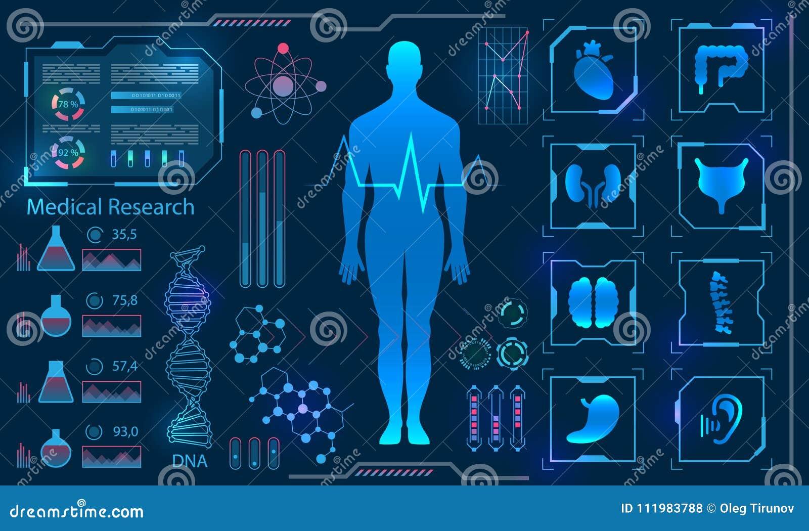 Medizinisches Gesundheitswesen-menschliche virtueller Körper-High-Teche Diagnoseplatte, Medizin-Forschung