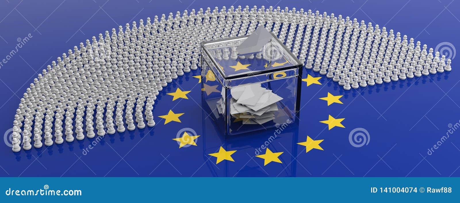 Medlemmar för europeisk parlament som pantsätter och en rösta ask på EU-flaggan, illustration 3d