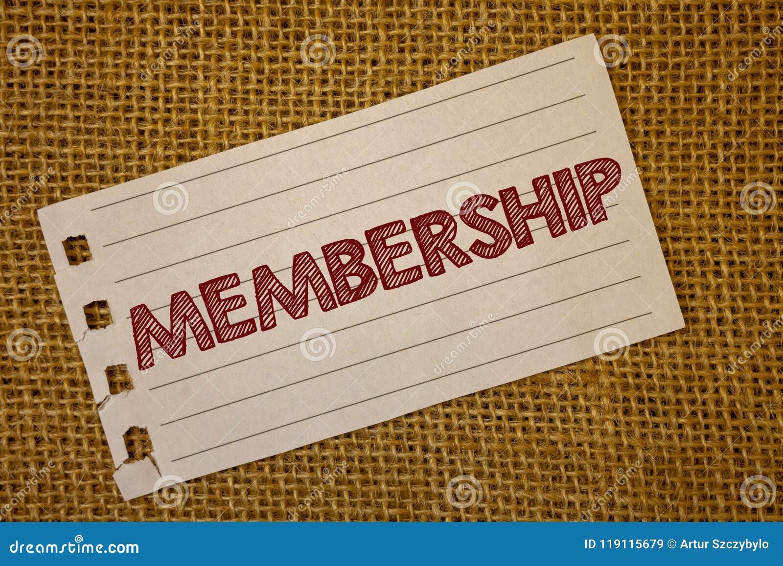 Medlemskap för textteckenvisning Begreppsmässiga foto som är medlemdelen av en grupp eller laget, sammanfogar en messa för organi