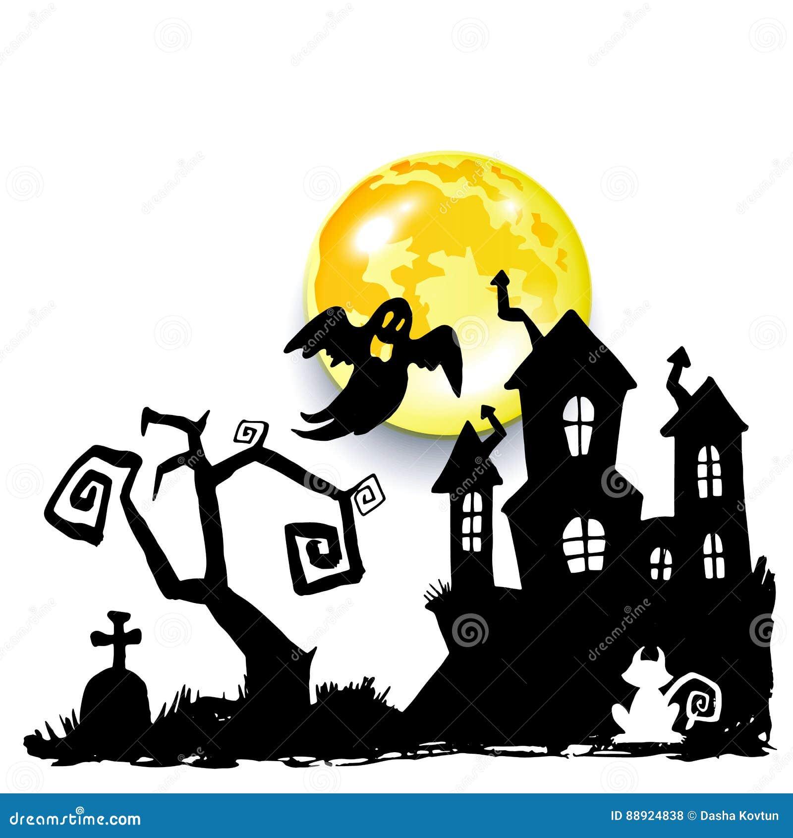 Medo assustador dos desenhos animados da ilustração do Dia das Bruxas do vetor de Ghost