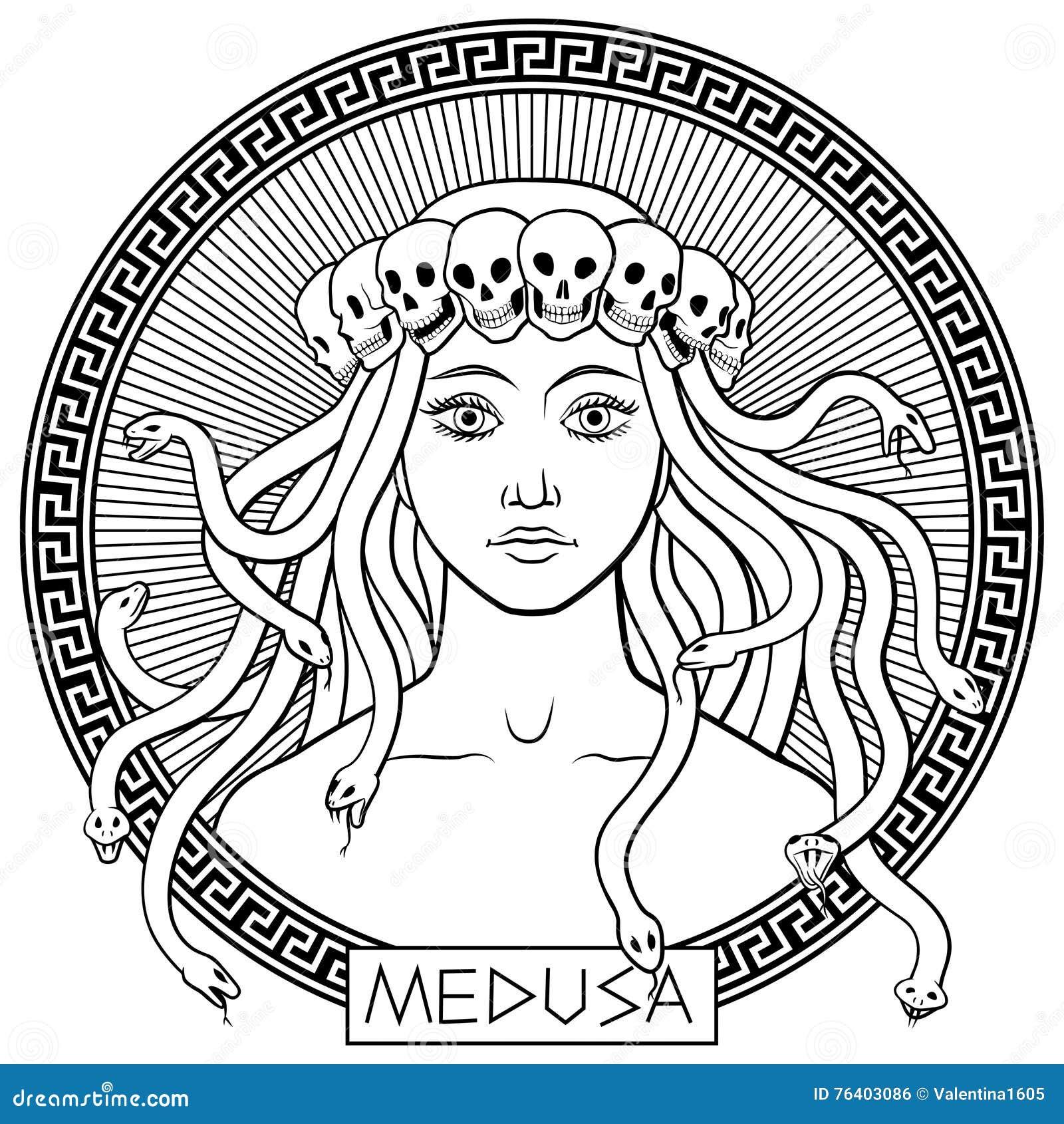 Medusa gorgon illustrazione vettoriale immagine 76403086 for Medusa da colorare