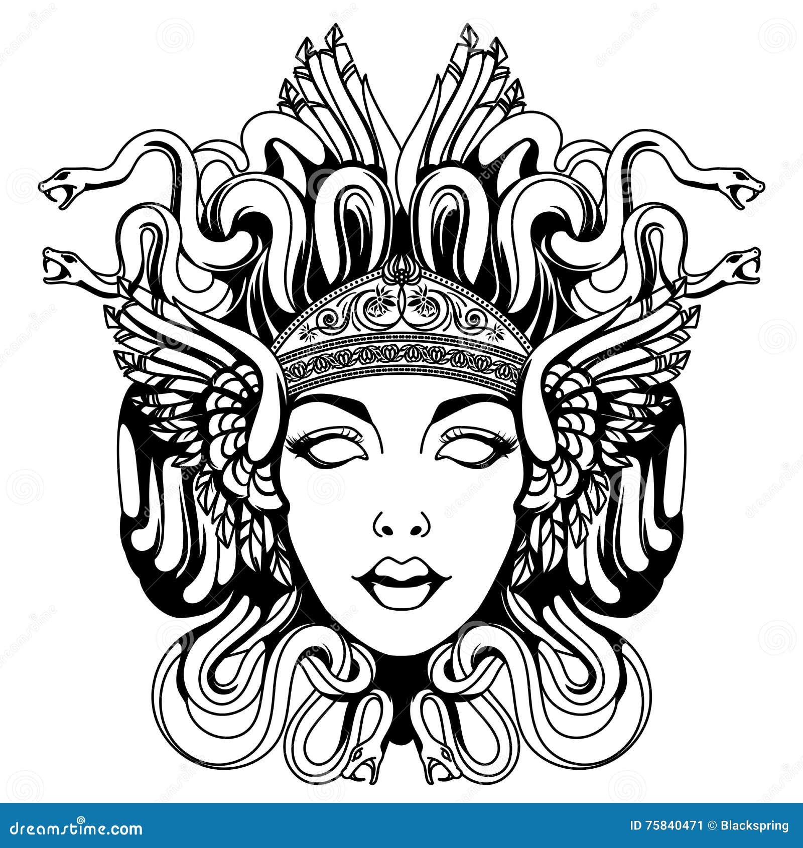 Medusa gorgon portrait stock vector image 75840471 for Medusa da colorare