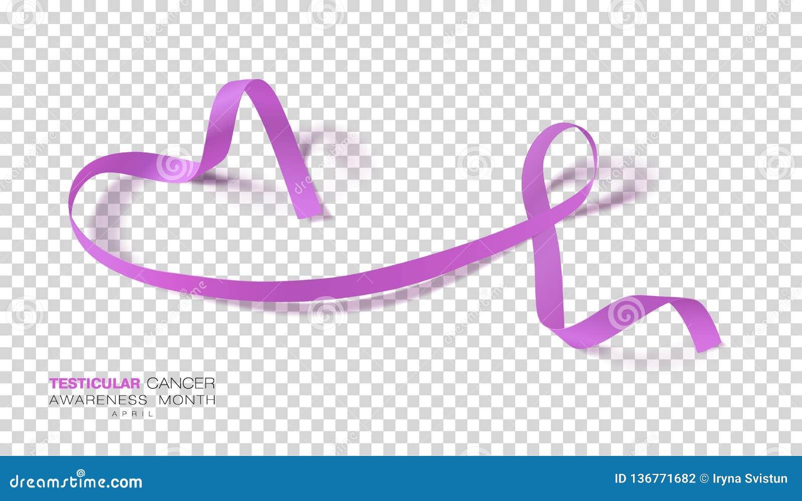 Medvetenhetmånad för Testicular cancer Orkidéfärgband på genomskinlig bakgrund Vektordesignmall för