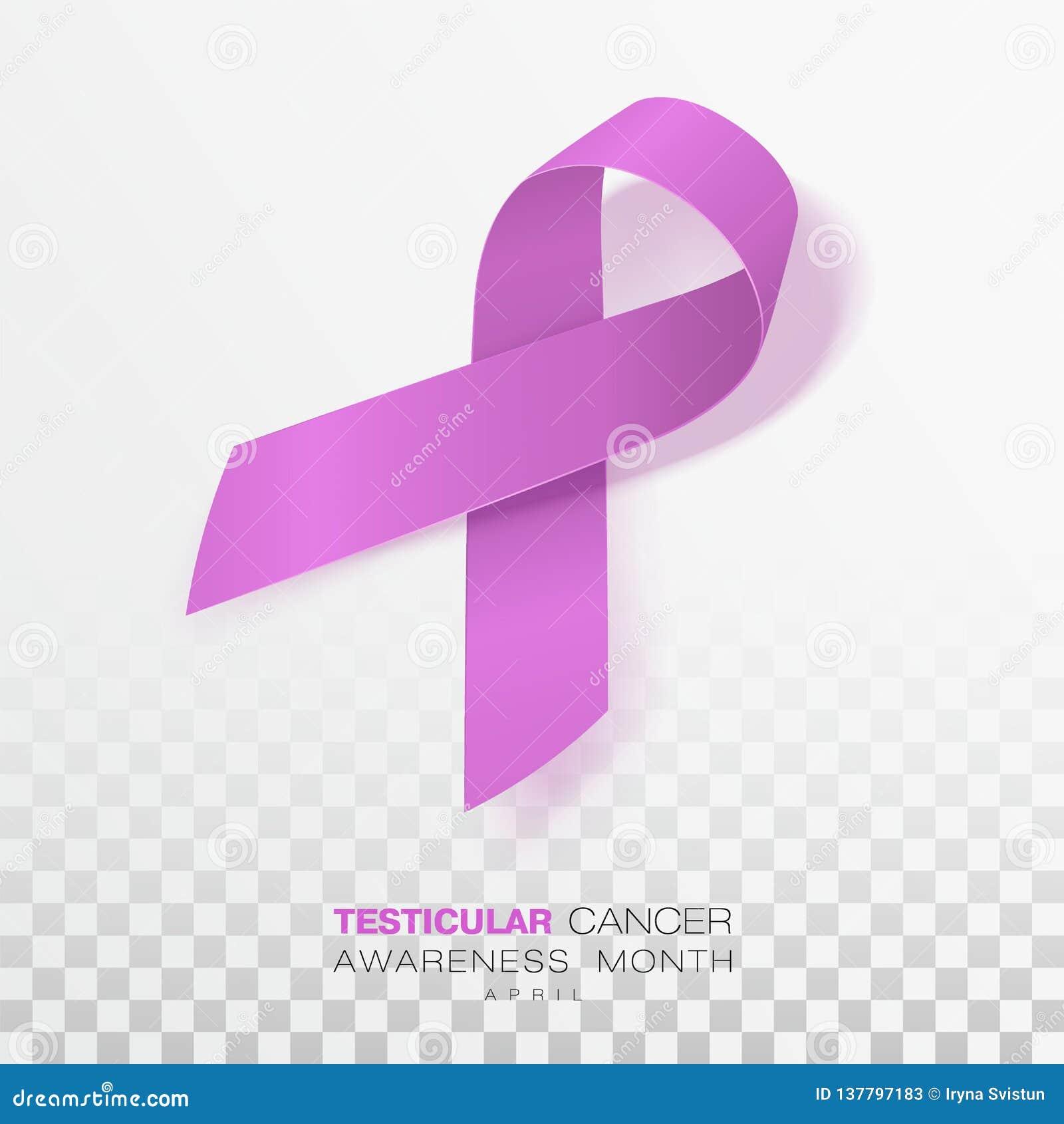 Medvetenhetmånad för Testicular cancer Orkidéfärgband som isoleras på genomskinlig bakgrund Vektordesignmall för affisch