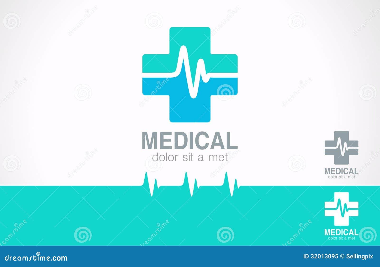 Medycyna przecinający logo. Apteka logotyp. Kardiogram