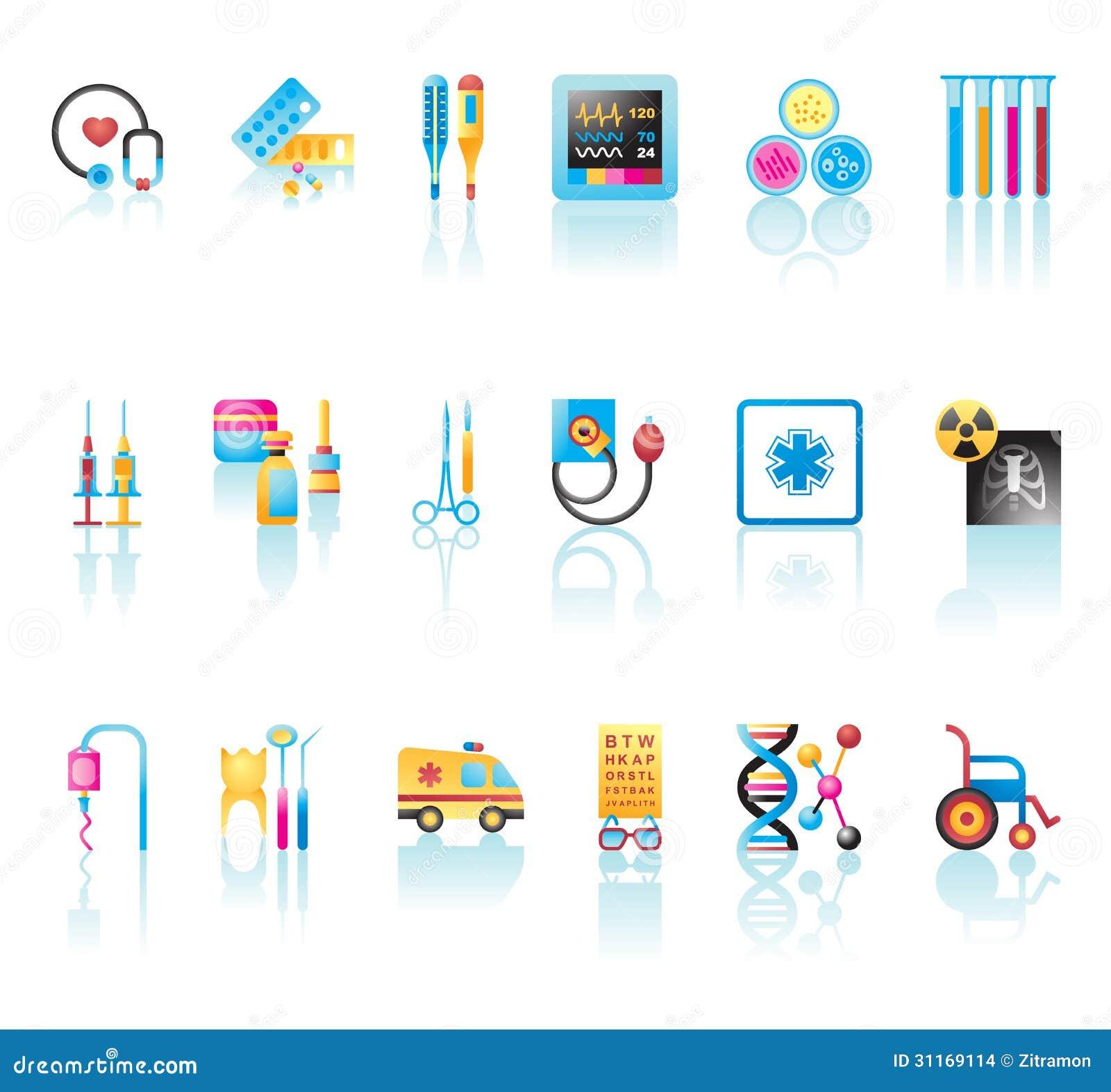 Medyczne ikony Ustawiać