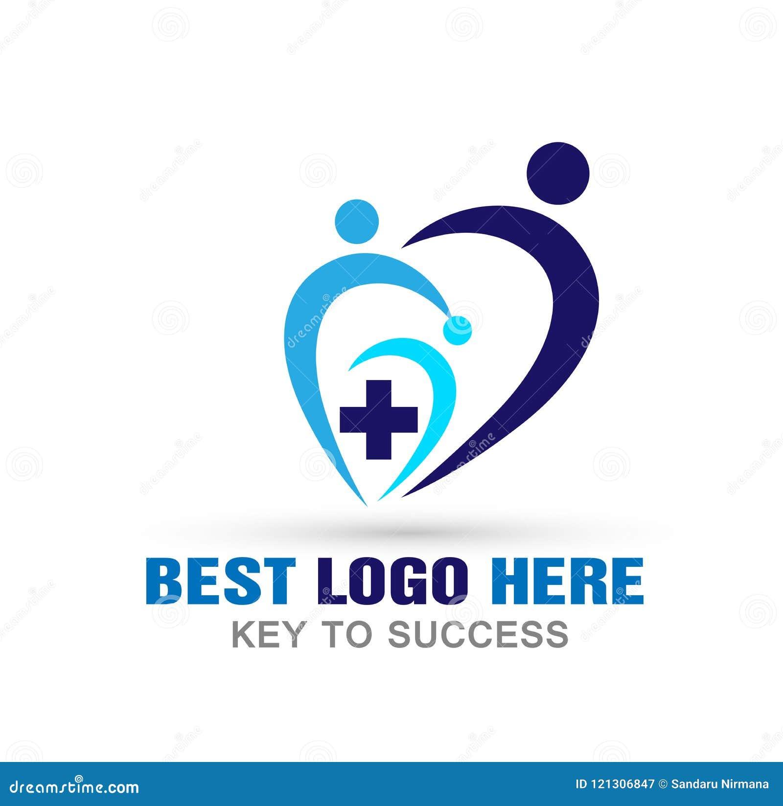 Medyczni opieka zdrowotna krzyża loga kierowej ikony na białym tle ludzie
