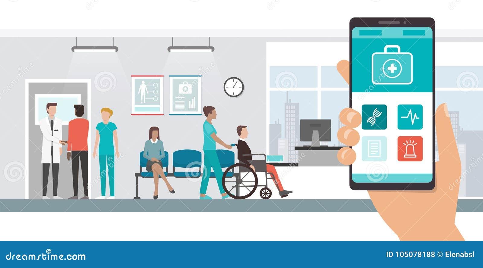 Medyczny app i pacjenci przy szpitalem