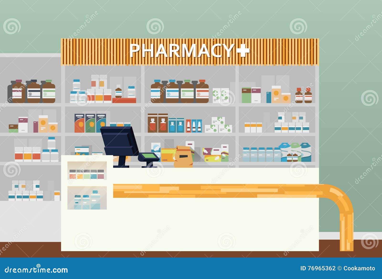 Medyczny apteki lub apteki wewnętrzny projekt Chemik, apothecary, dispensary lub kliniczny, ambit lub społeczność