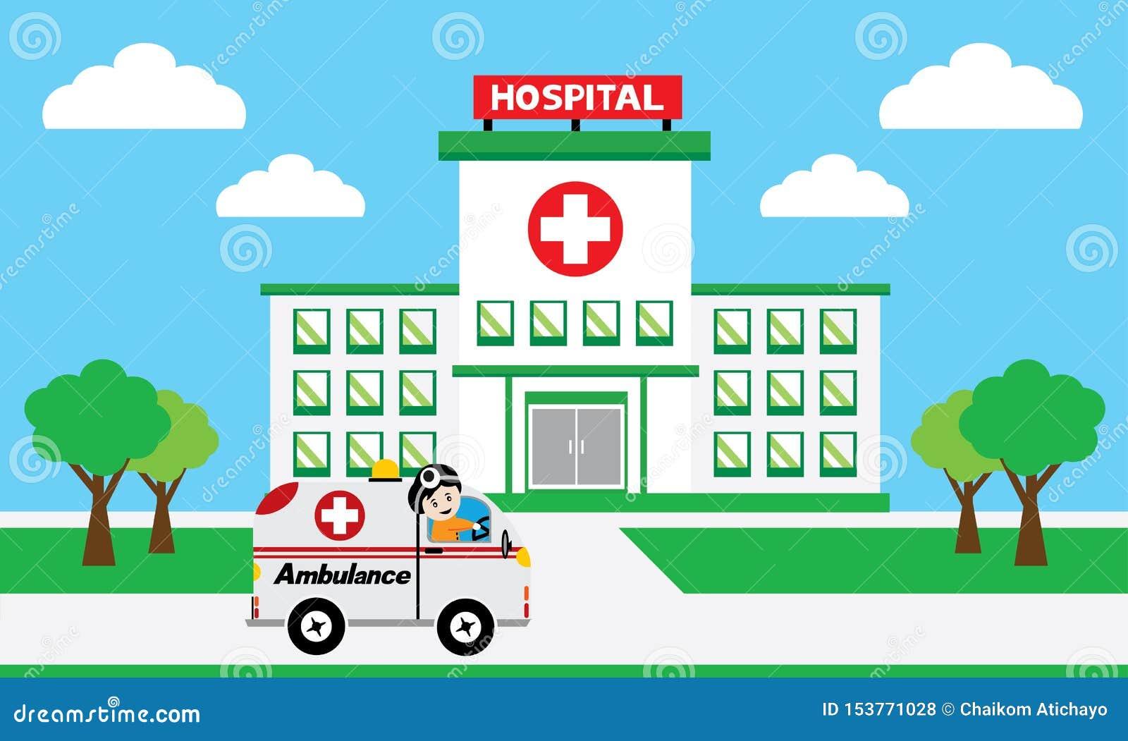 Medyczny pojęcie z szpitalnymi budynkami