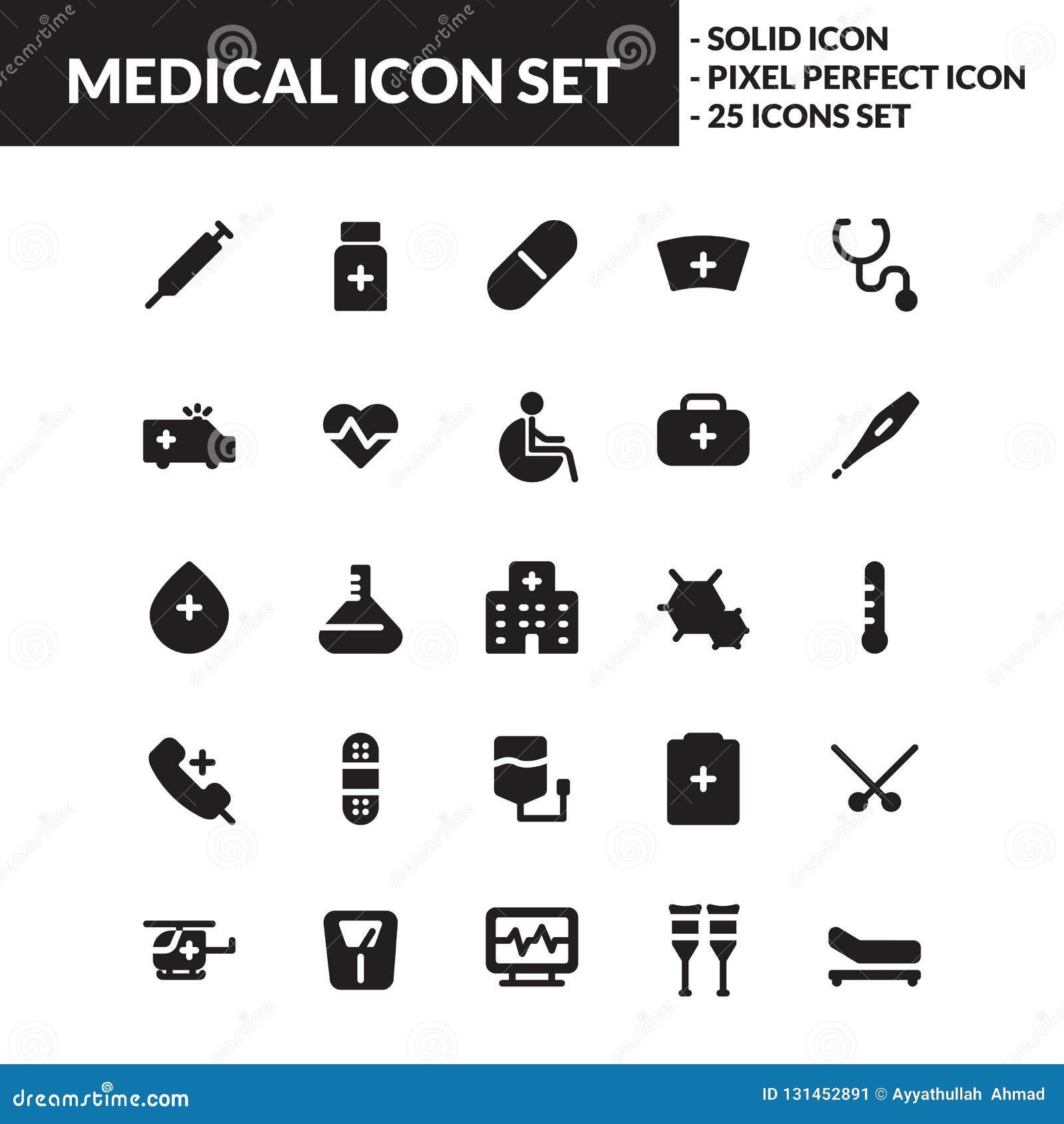 Medyczny stały ikona set