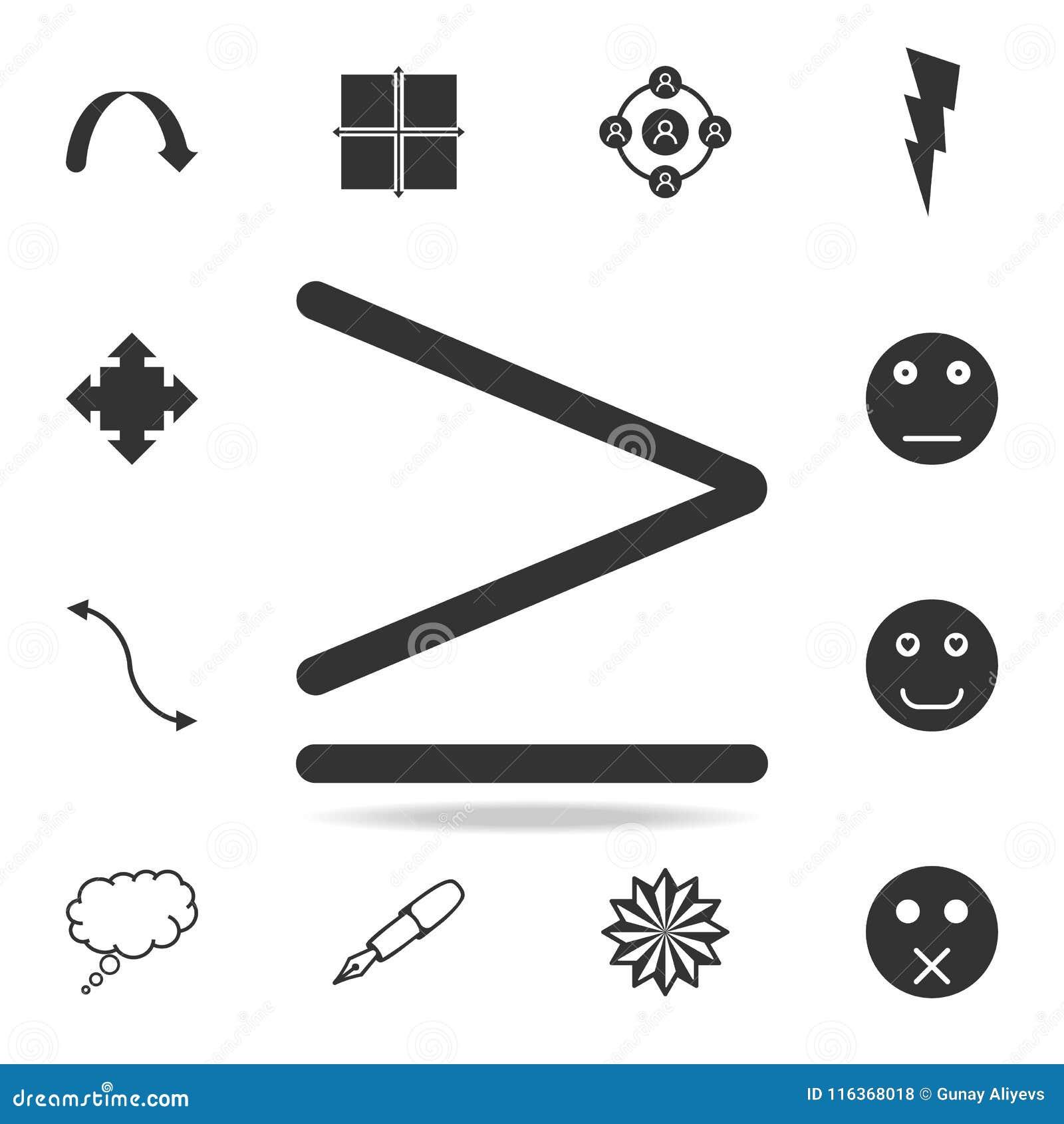 Meer of gelijk symboolpictogram Gedetailleerde reeks Webpictogrammen en tekens Premie grafisch ontwerp Één van de inzamelingspict