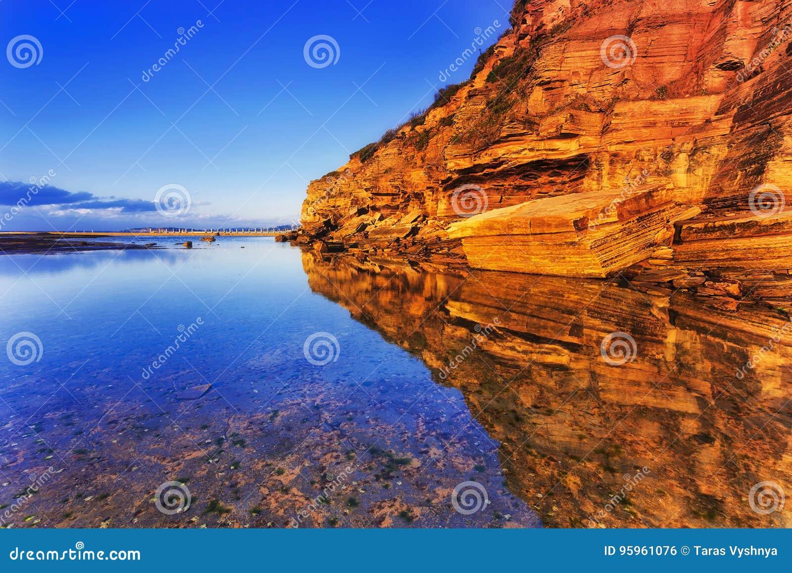Meer Narrab Cliff Reflect Still