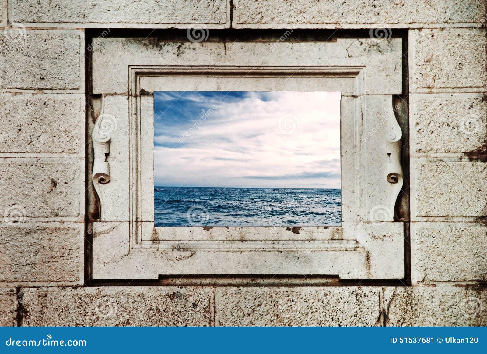 Meerblick durch fenster stockbild bild von strand schauen 51537681 - Braunen durch fenster ...