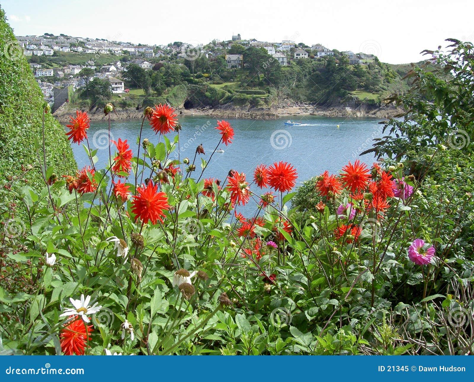 Meerblick mit roten Blumen