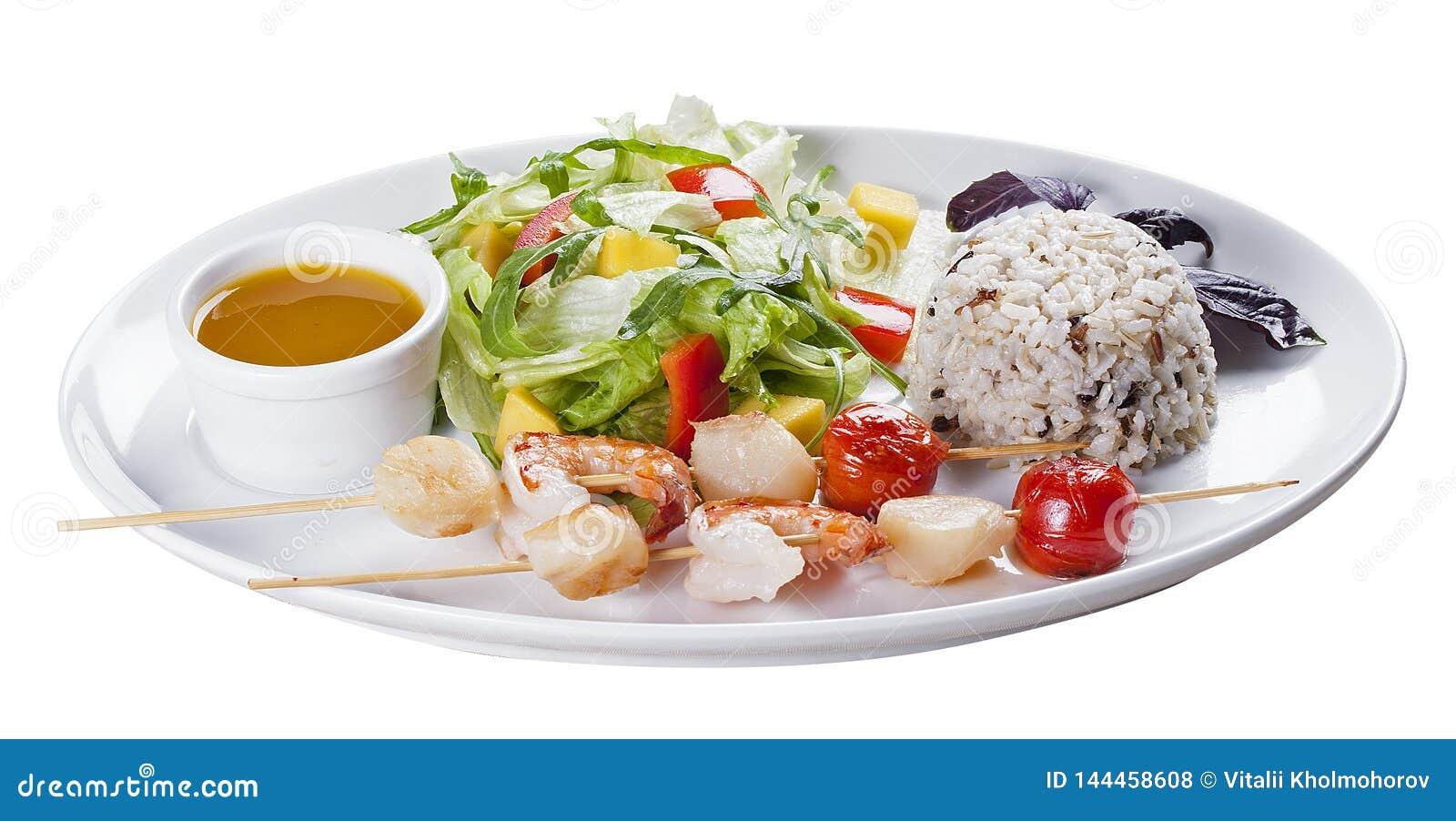 Meeresfrüchte mit Reis und Gemüse