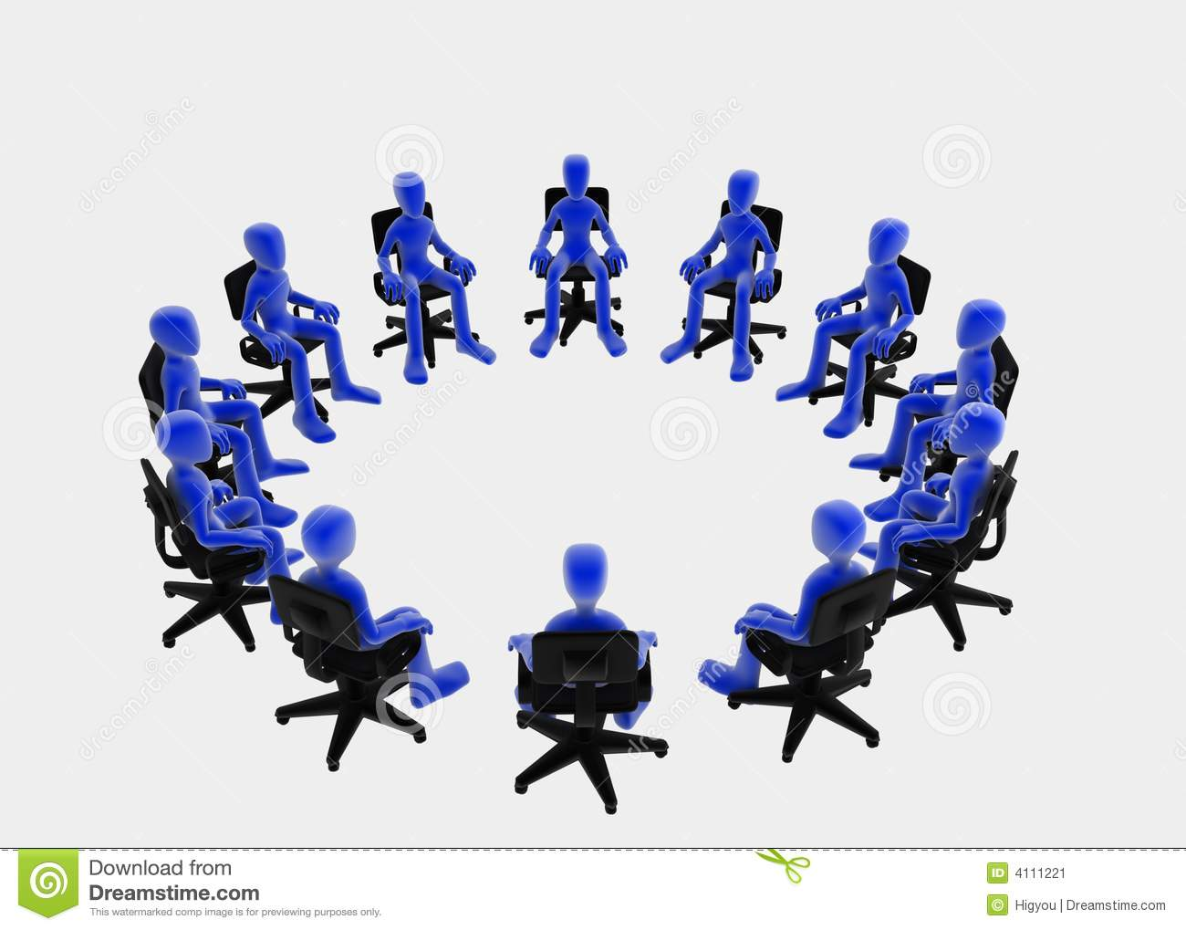 Twelve 3d figures sitting in a circle, blue over white background.
