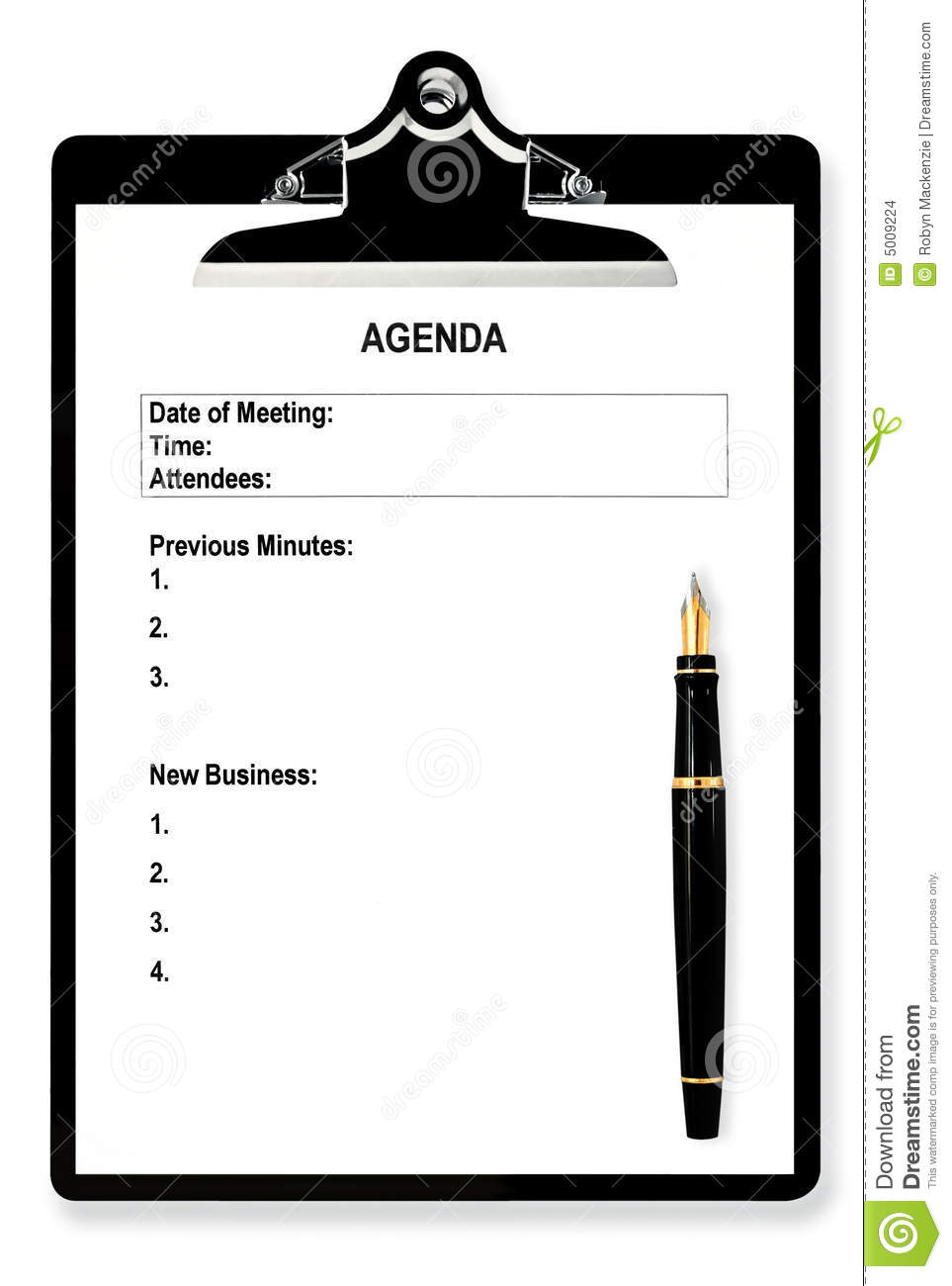 Meeting agenda on clipboard, with fountain pen.