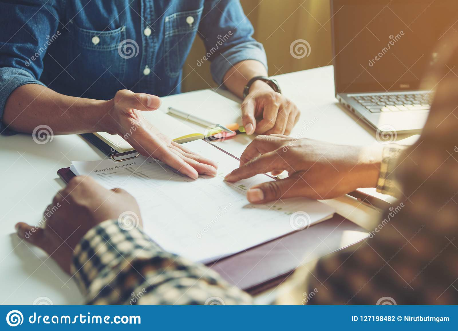 Meeting of business colleagues the company provides statistical