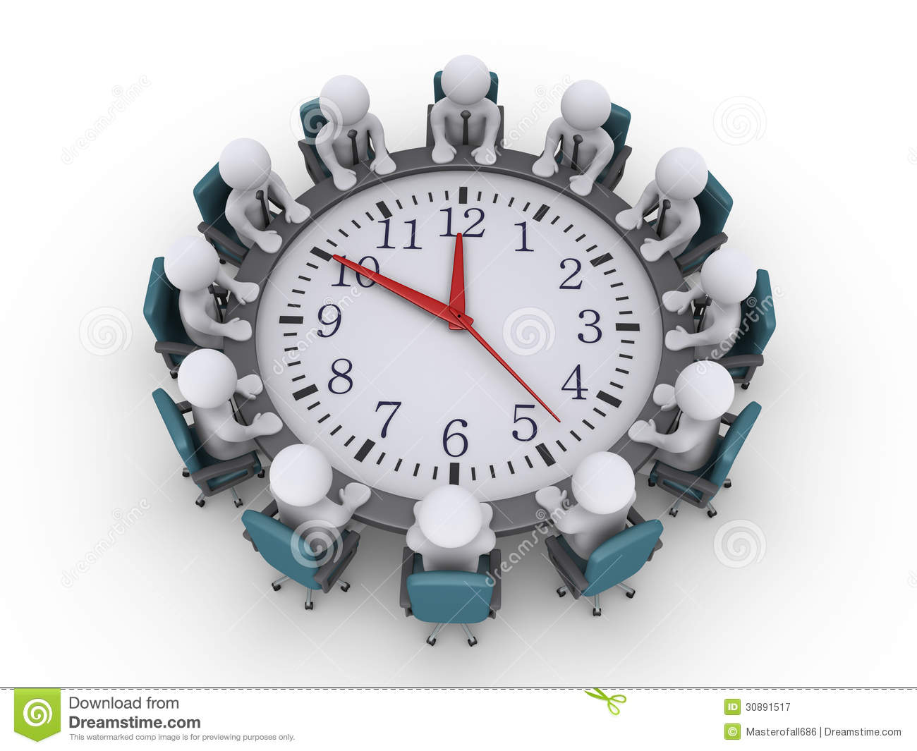 Meeting Of Businessmen Around A Clock table Royalty Free