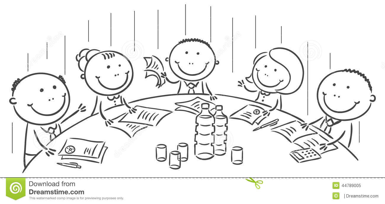 Office table drawing sketch - Meeting Or Conference Round The Table Stock Vector Image