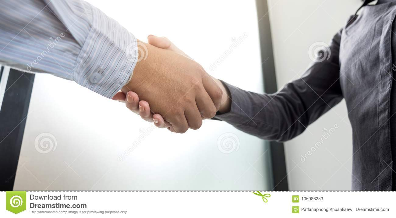 Meeting And Greeting Concept Two Confident Business Handshake A