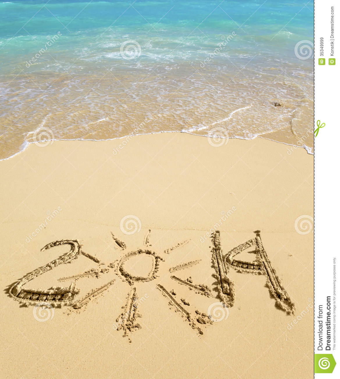 Beautiful Sunny Day At Tropical Beach Royalty Free Stock: Meeting Of New Year 2014 On A Tropical Beach In A Sunny