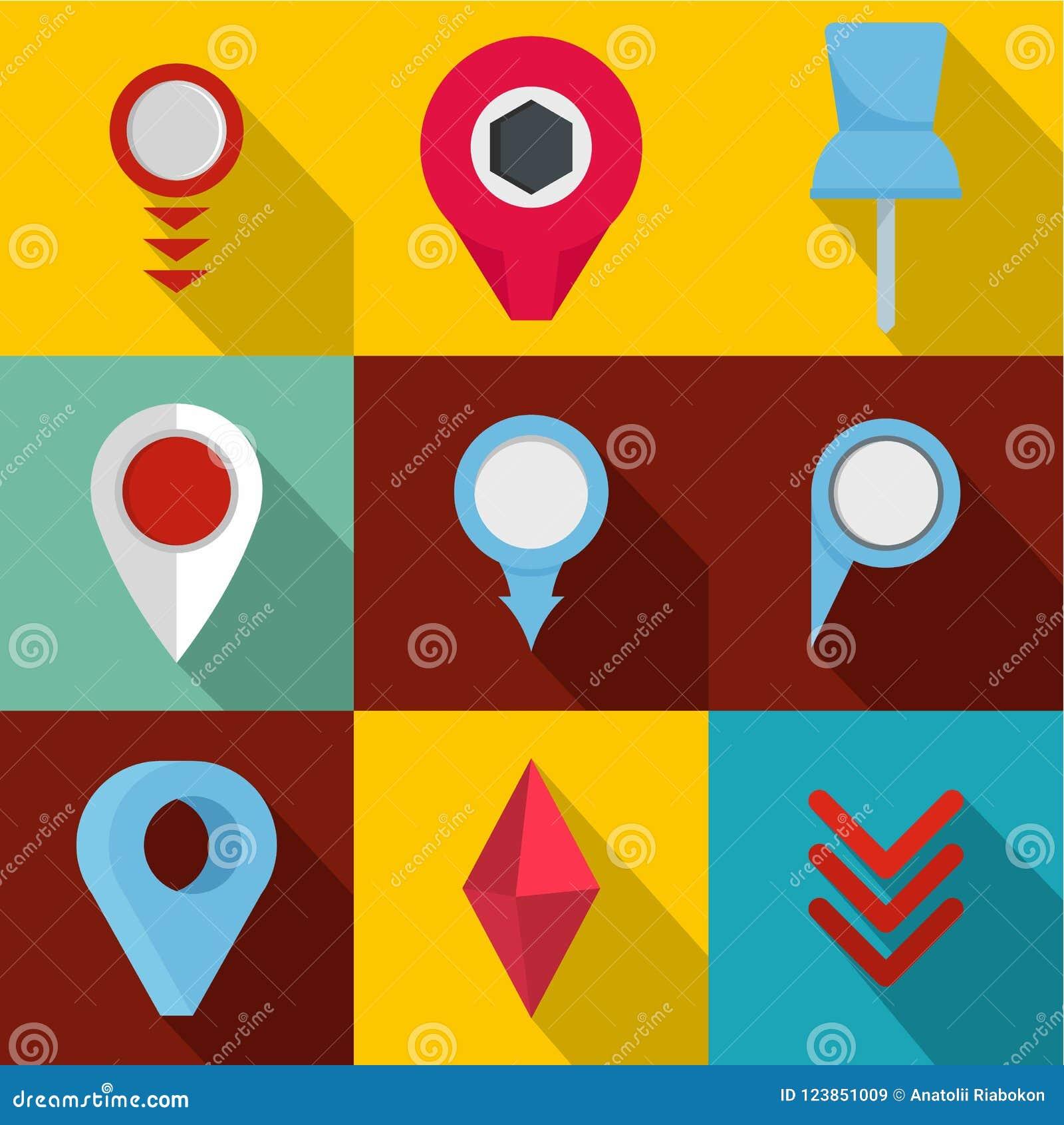 Meeting Point Icons Set Flat Style Stock Illustration