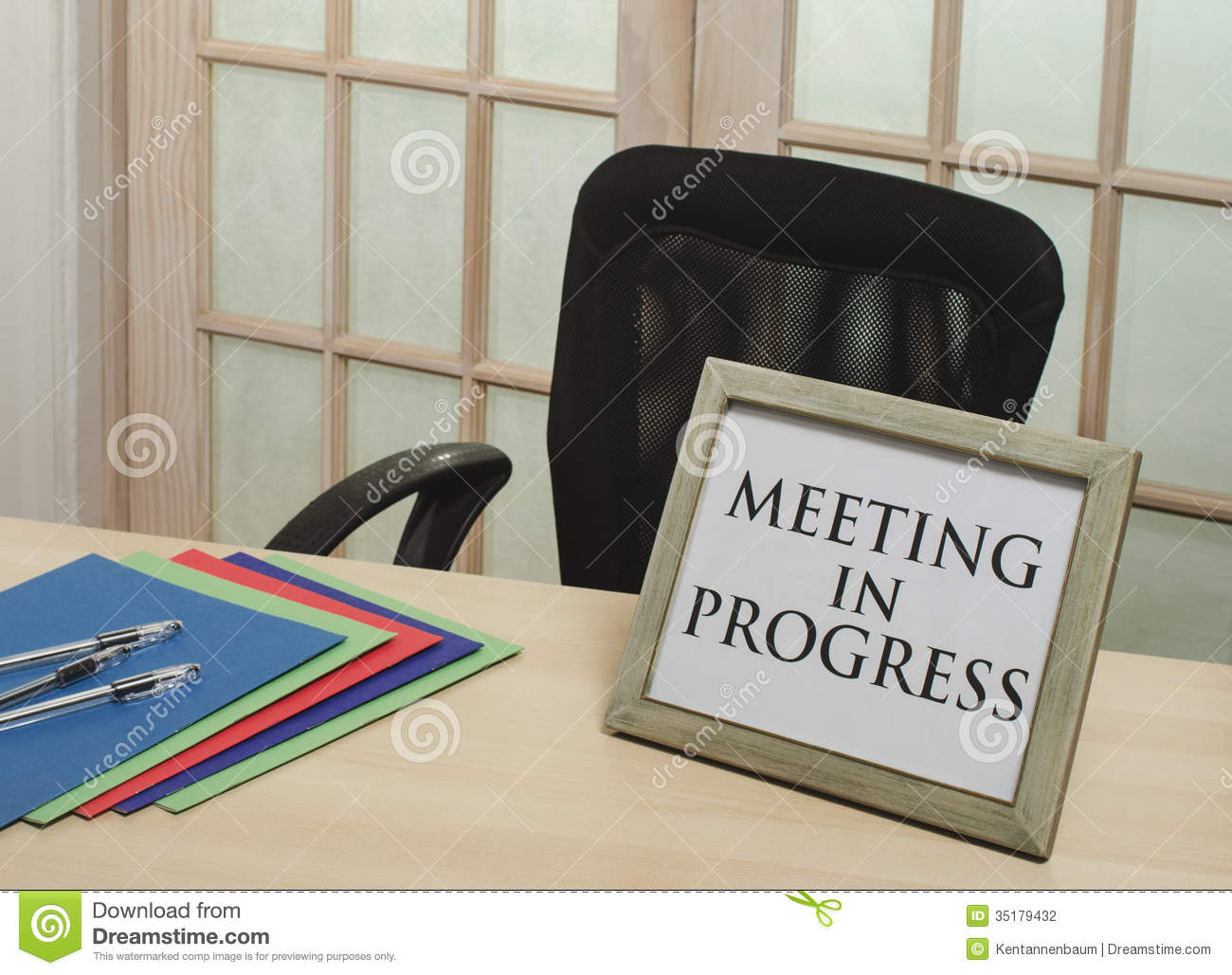 meeting in progress sign stock photo image of door creativity
