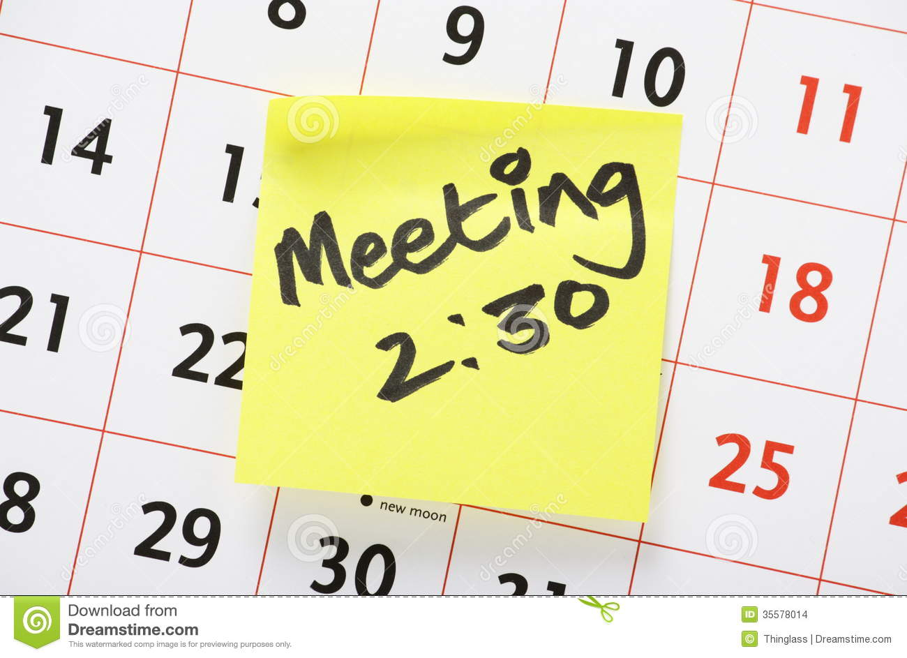 Calendar Wallpaper With Reminder : Meeting reminder stock photo image of important calendar