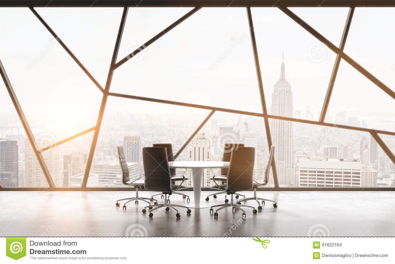 A meeting room in a bright contemporary panoramic office space with new york city view the - Small office space nyc concept ...