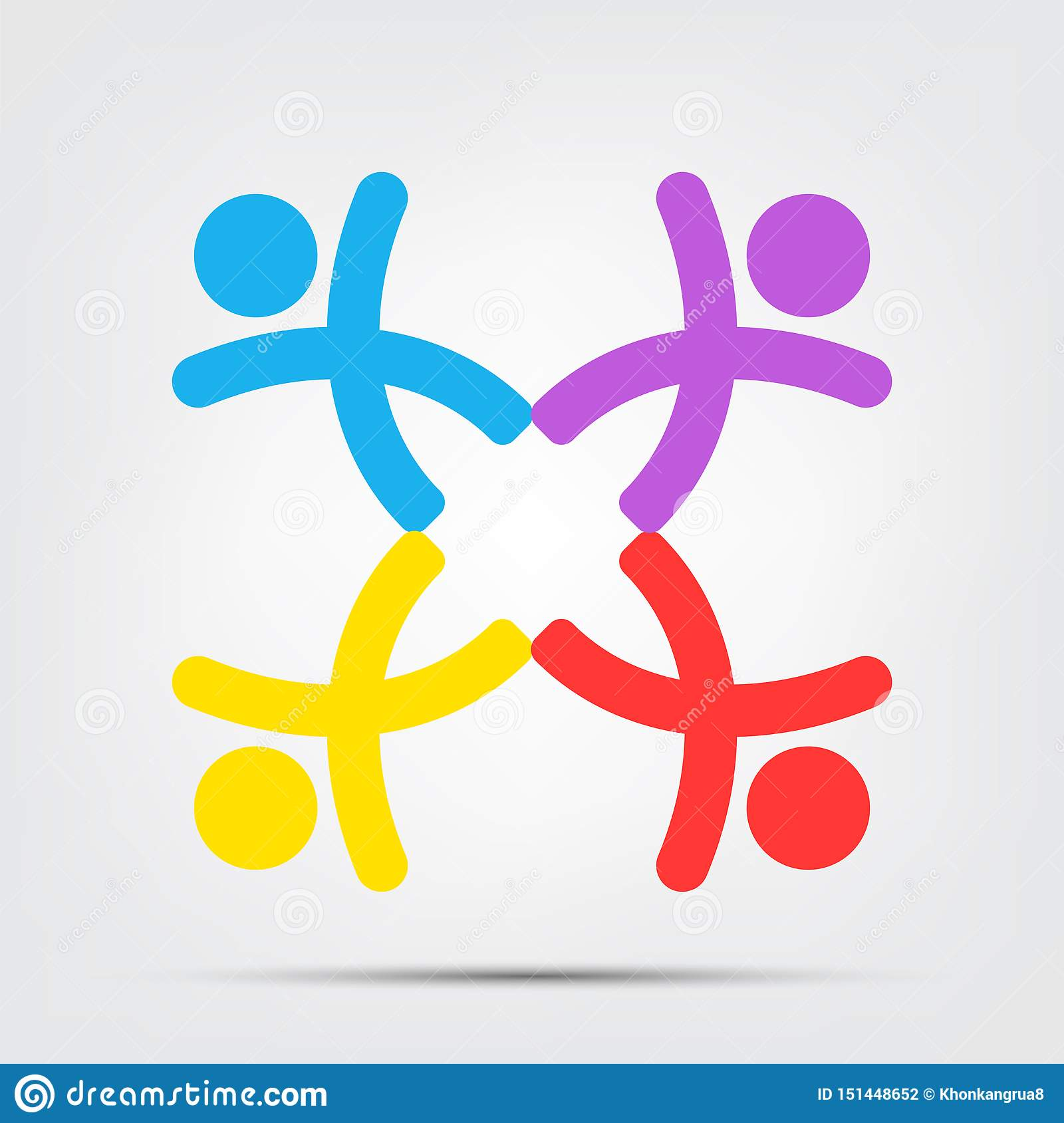 meeting room people logo.group of four persons in circle Isolate On White Background,Vector Illustration