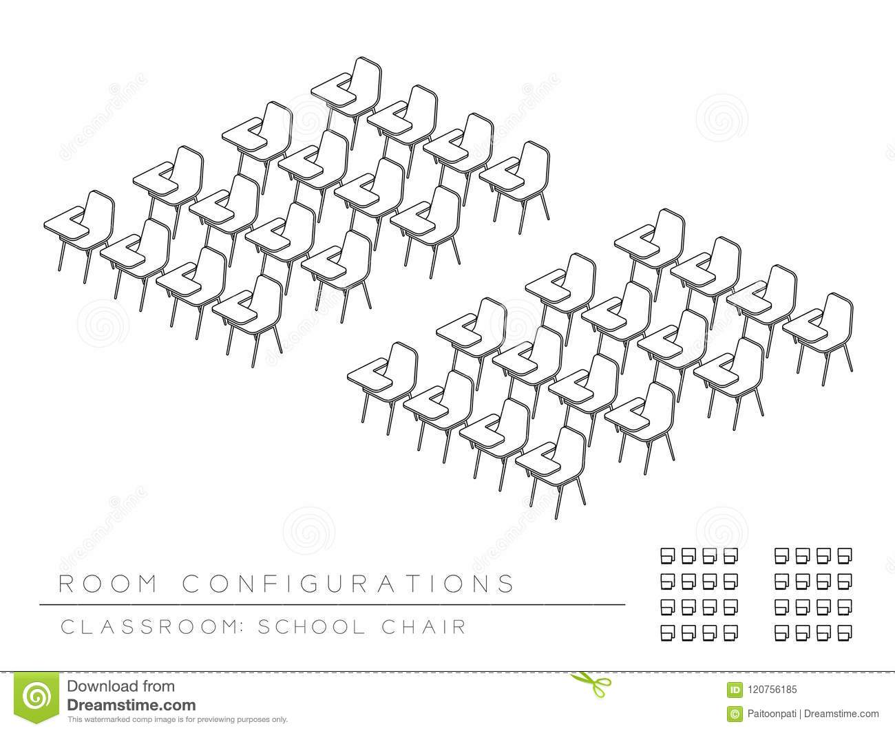 Meeting Room And School Chair With Writing Pad Setup Layout