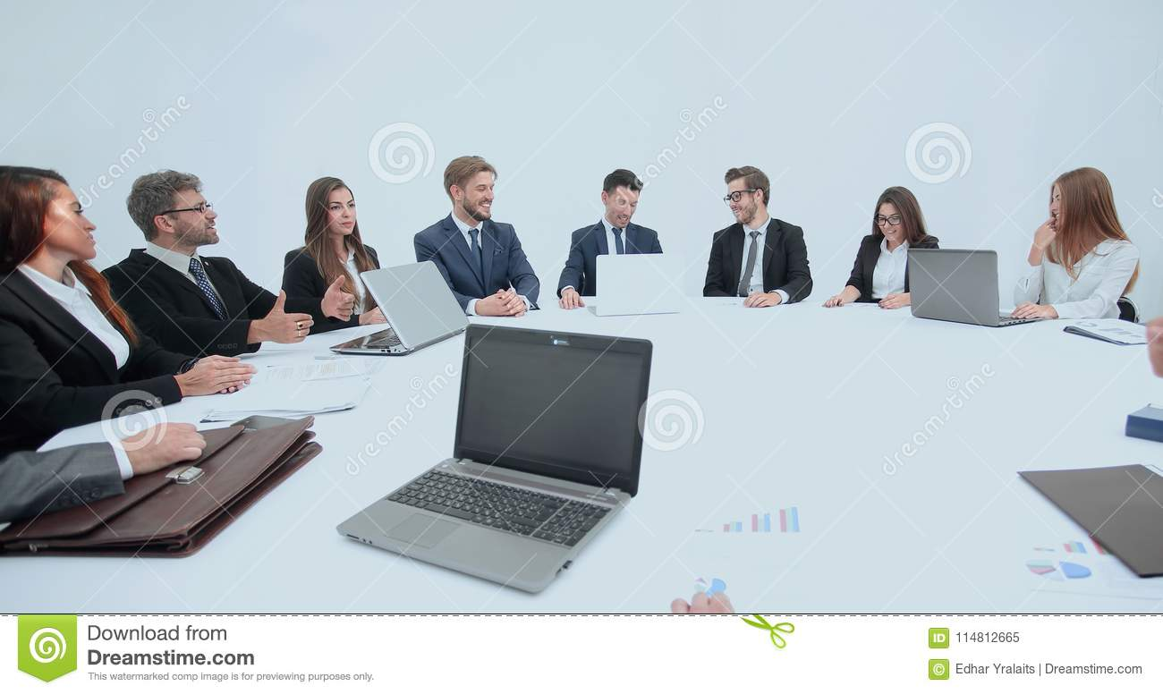 Download Meeting Of Shareholders Of The Company At The Round   Table. Stock  Image