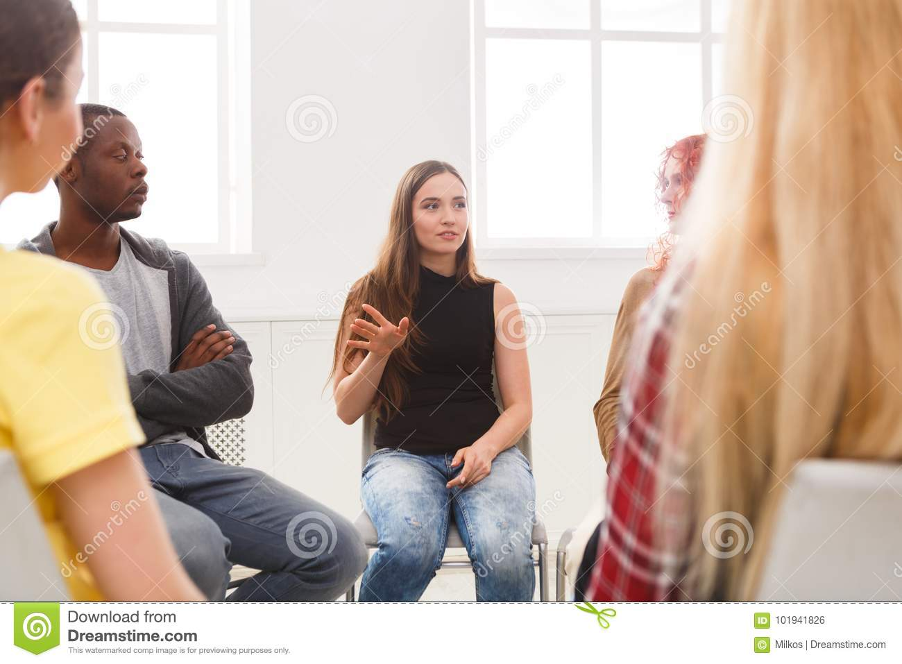 Meeting of support group, therapy session