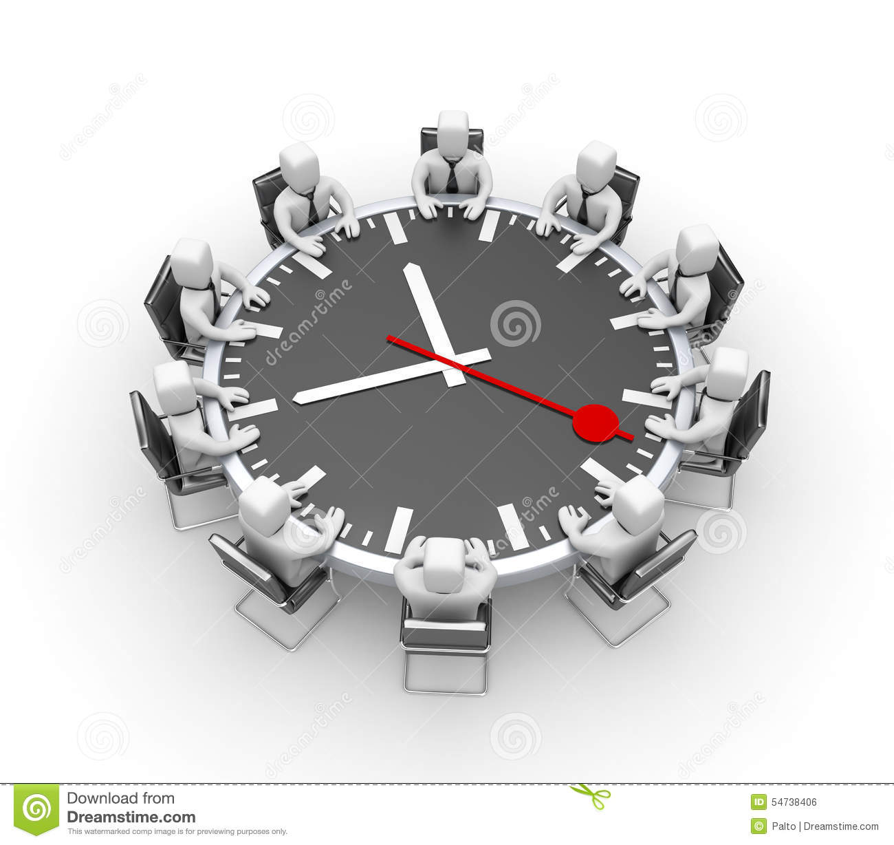 meeting  table in the form of clock stock illustration