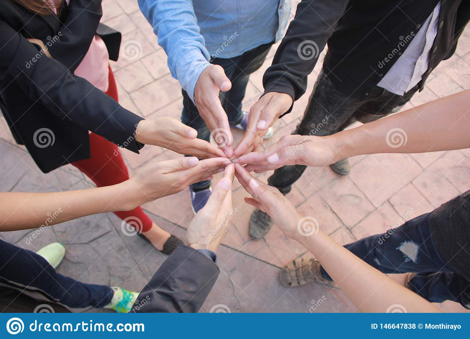 Meeting teamwork concept,Friendship,Group business people with stack of hands showing unity