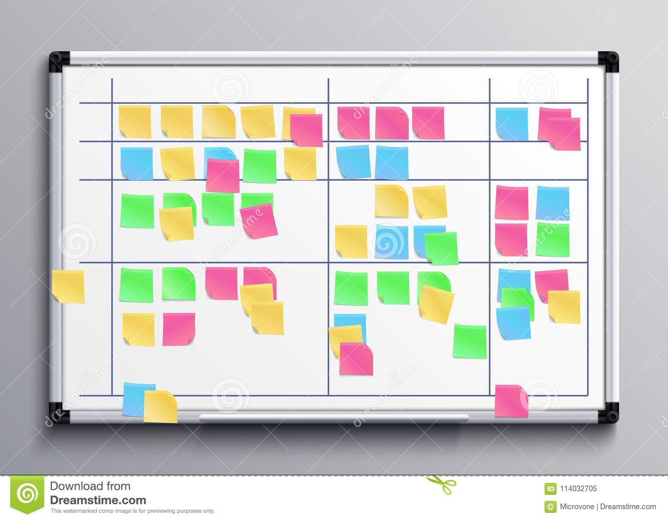 meeting white board with color stickers scrum task board with