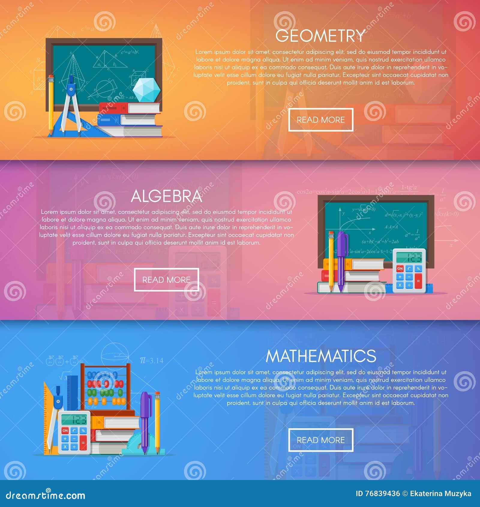 Meetkunde, algebra en wiskunde vectorbanners Het conceptenaffiche van het wetenschapsonderwijs in vlak stijlontwerp
