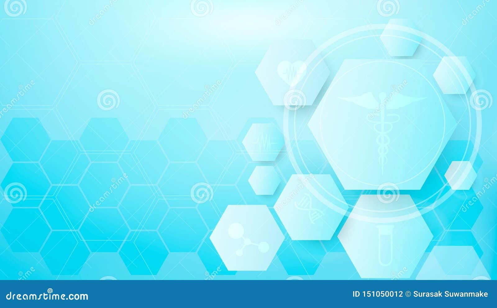 Meetkunde, positieve en hexagon van het symbolen Medische concept achtergrond