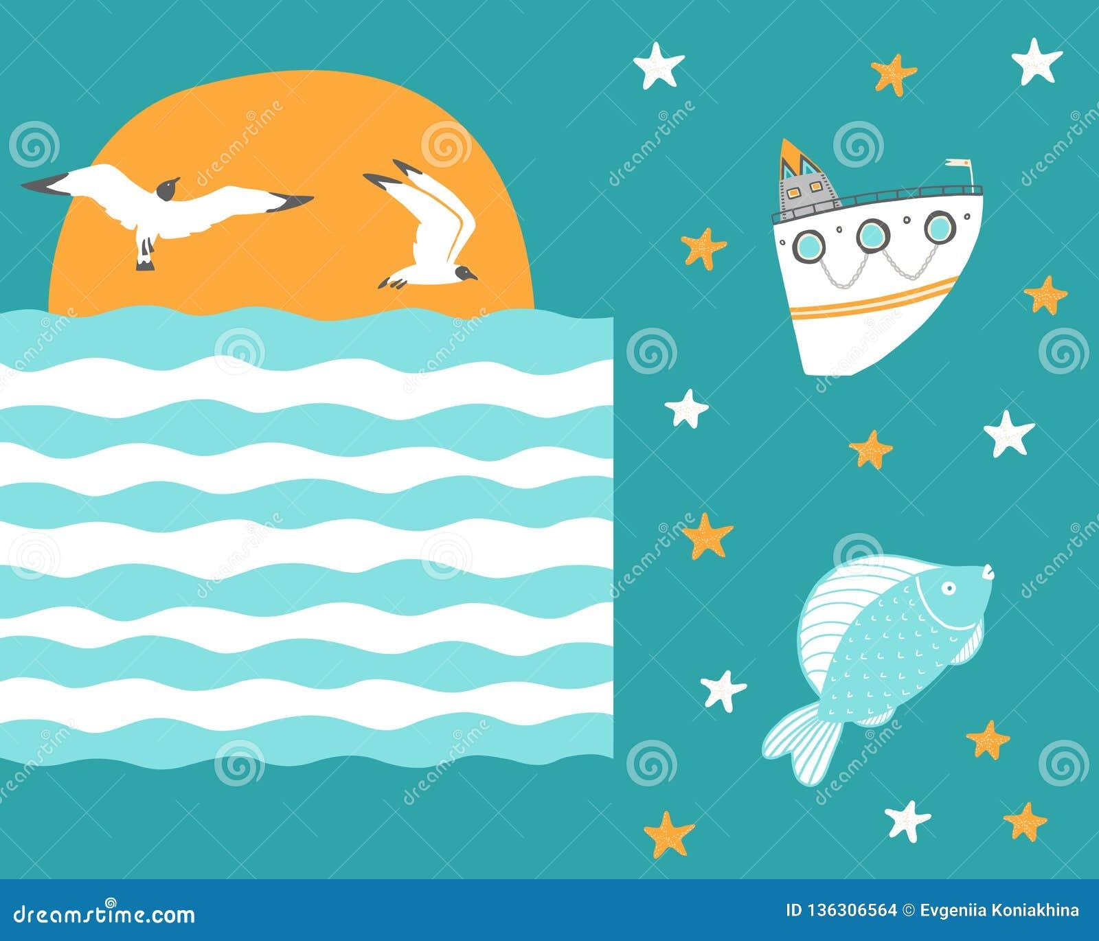 Meeuwenvlieg bij zonsondergang met het schip en de vissen